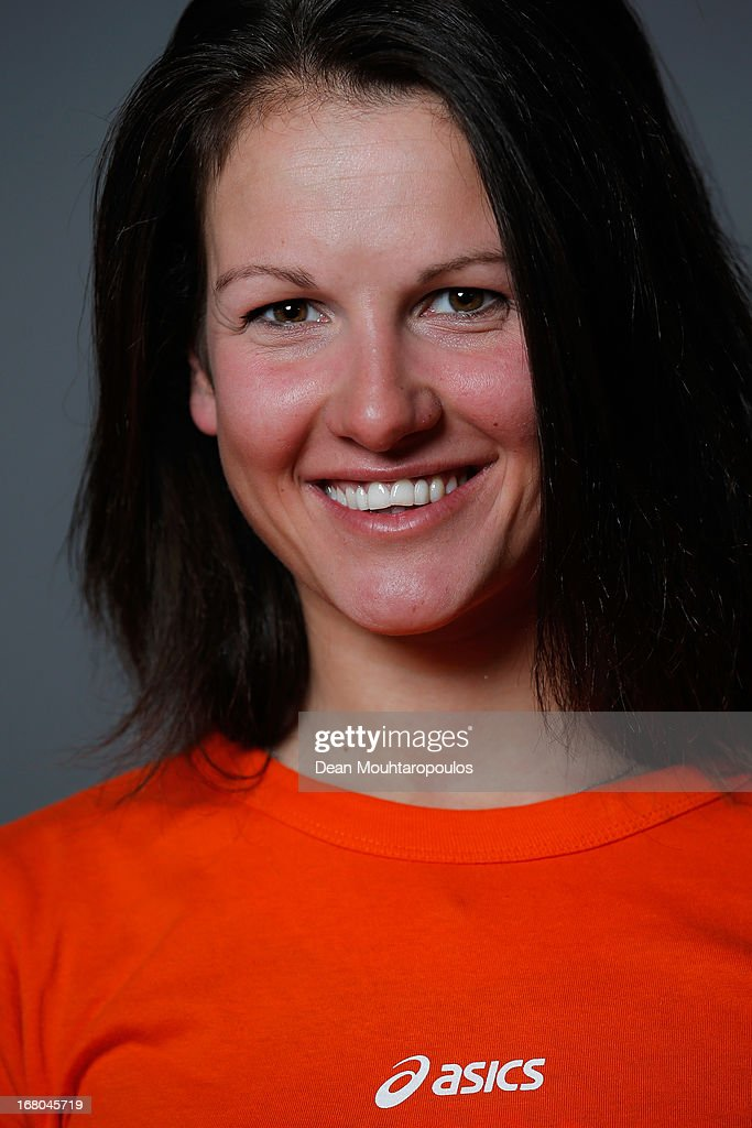 Charlotte van Gils, poses during the NOC*NSF (Nederlands Olympisch Comite * Nederlandse Sport Federatie) Sochi athletes and officials photo shoot for Asics at the Spoorwegmuseum on May 4, 2013 in Utrecht, Netherlands.