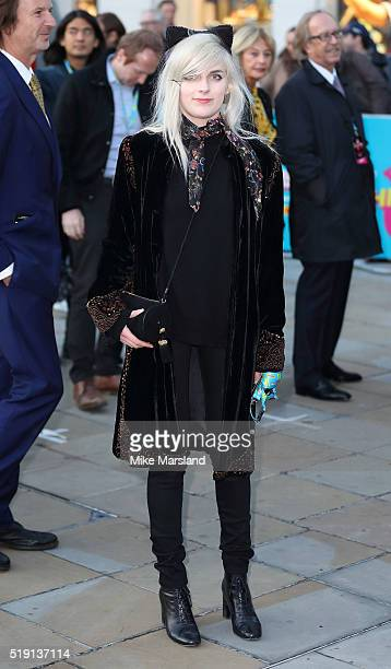 Charlotte Watts arrives for the private view of 'The Rolling Stones Exhibitionism' Saatchi Gallery on April 4 2016 in London England