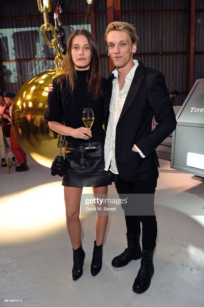 Charlotte Wiggins and Jamie Campbell Bower attend the launch of Tiffany & Co. City Hardwear Collection on May 10, 2017 in London, England.