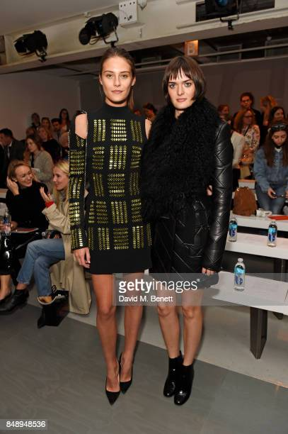 Charlotte Wiggins and Sam Rollinson attend the David Koma SS18 catwalk show during London Fashion Week September 2017 at The National Theatre on...