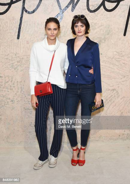 Charlotte Wiggins and Sam Rollinson attend Topshop's London Fashion Week show on September 17 2017 in London England