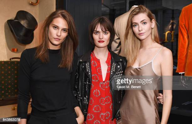 Charlotte Wiggins Sam Rollinson and Eve Delf attend the launch of the 'Kingsman' shop on St James's Street in partnership with MR PORTER MARV...