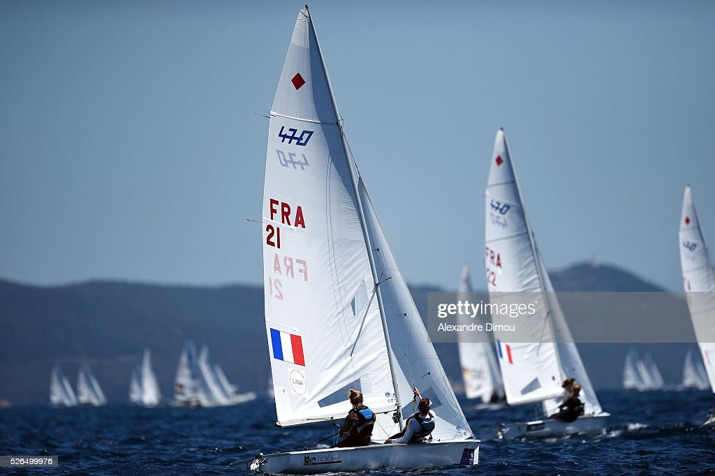 Charlotte Yven and Marine Riou of France compete in the women's race boat 470 during the Sailing World Cup on April 30, 2016 in Hyeres, France.