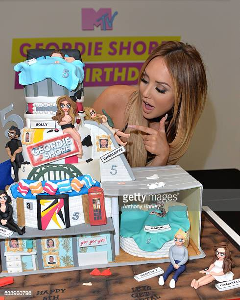 CharlotteLetitia Crosby of Geordie Shore celebrate their fifth birthday at MTV London on May 24 2016 in London England