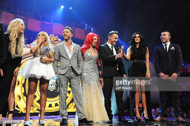 CharlotteLetitia Crosby Sophie Kasaei Ricci Guarnaccio Holly Hagan Scott Timlin Vicky Pattison and James Tindale of Geordie Shore present the award...