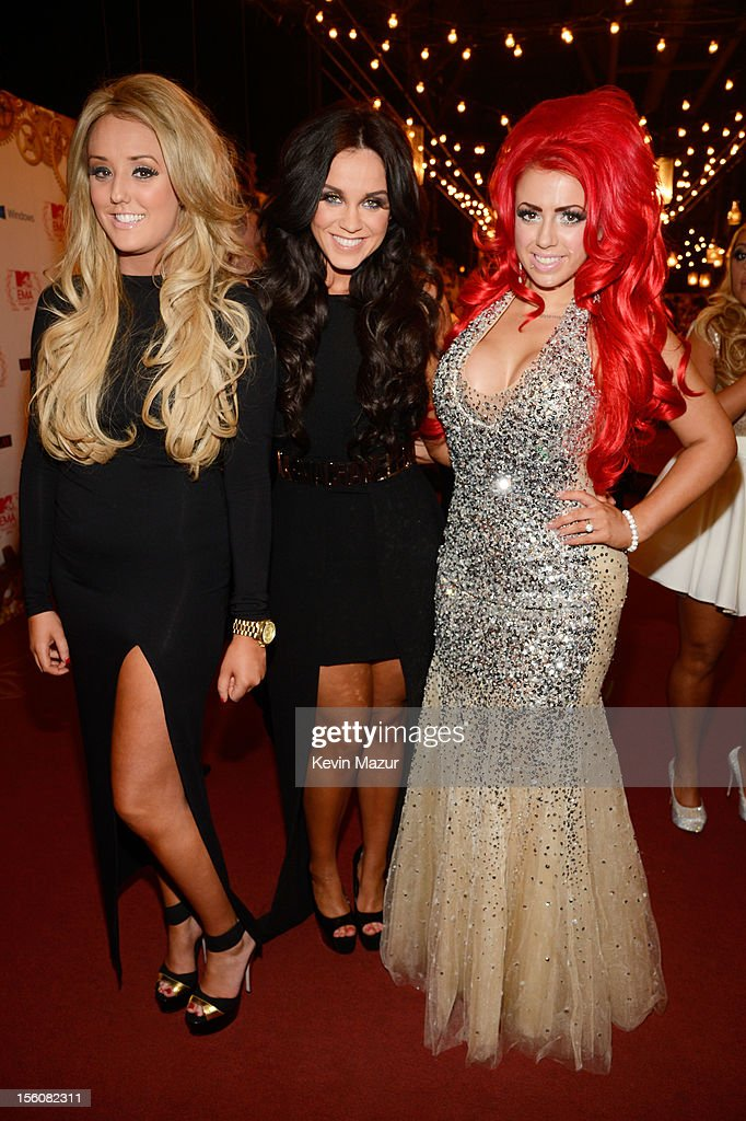 Charlotte-Letitia Crosby, Vicky Pattison and Holly Hagan of Geordie Shore attend the MTV EMA's 2012 at Festhalle Frankfurt on November 11, 2012 in Frankfurt am Main, Germany.