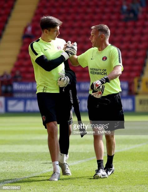 Charlton Athletic goalkeeper Nick Pope and goalkeeper coach Lee Turner