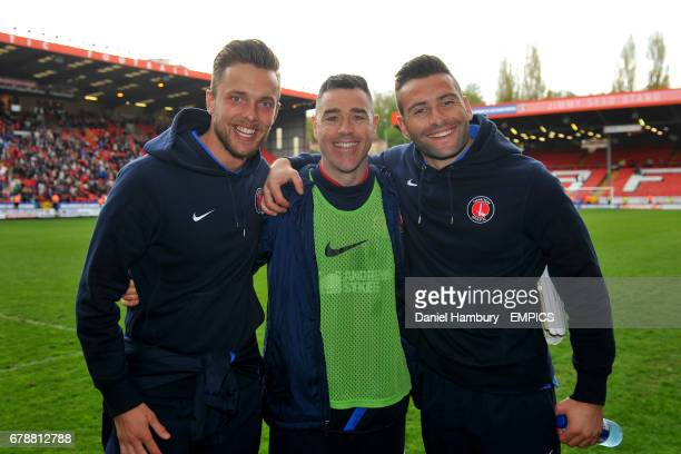 Charlton Athletic goalkeepers' Ben Hamer and John Sullivan with Andy Hughes