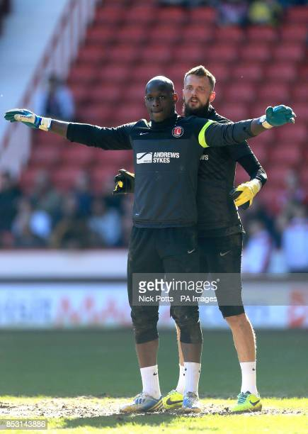 Charlton Athletic goalkeepers Ben Hamer and Yohann ThuramUlien during the warmup