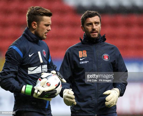 Charlton Athletic goalkeeping coach Ben Roberts with goalkeeper Ben Hamer before the game