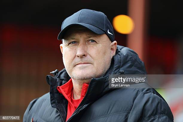 Charlton Athletic Manager Russell Slade looks on prior to the Sky Bet League One match between Swindon Town and Charlton Athletic at County Ground on...