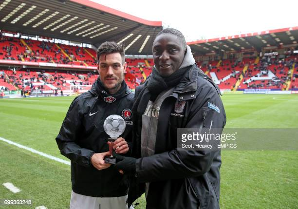 Charlton Athletic pre match presentation as Johnnie Jackson receives a trophy to commemorate his 50th goal for the club