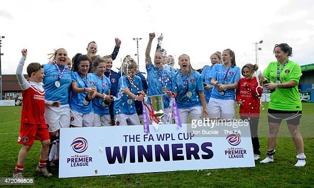 Charlton Athletic WFC celebrate with lifting The FA Women's Premier League Cup during the FA Women's Premier League Cup Final between Sheffield FC...