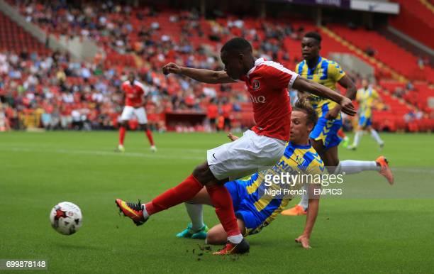 Charlton Athletic's Ademola Lookman and RKC Waalwijk's Daan Rienstra battle for the ball