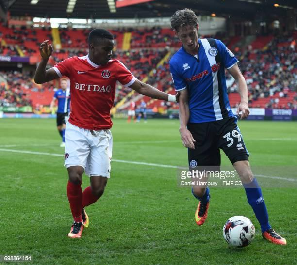 Charlton Athletic's Ademola Lookman and Rochdale's Joe Bunney