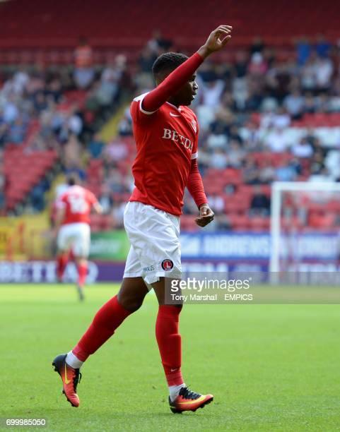 Charlton Athletic's Ademola Lookman celebrates scoring the equalising goal