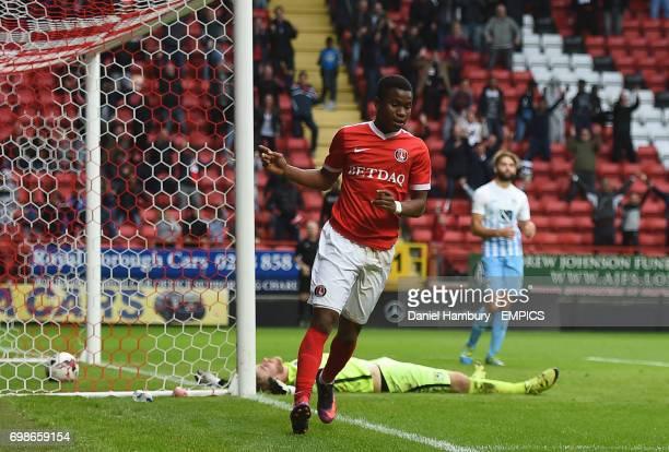 Charlton Athletic's Ademola Lookman celebrates scoring their second goal