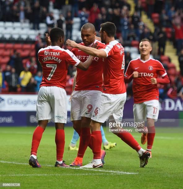 Charlton Athletic's Ademola Lookman celebrates scoring their second goal with team mates
