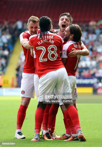 Charlton Athletic's Ademola Lookman celebrates with his team mates after scoring the equalising goal