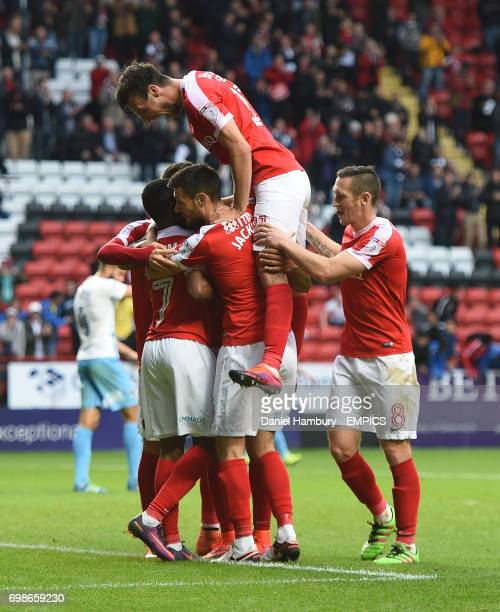 Charlton Athletic's Ademola Lookman is mobbed by team mates after scoring their second goal