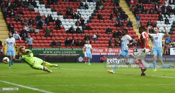 Charlton Athletic's Ademola Lookman scores their second goal