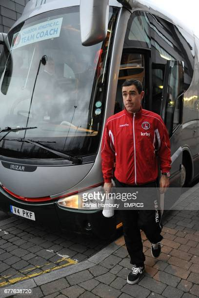 Charlton Athletic's Andy Hughes makes his way off the team bus and into the ground before the game