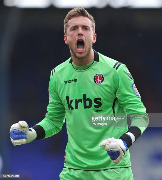 Charlton Athletic's Ben Hamer celebrates following the npower Football League One match at Boundary Park Oldham
