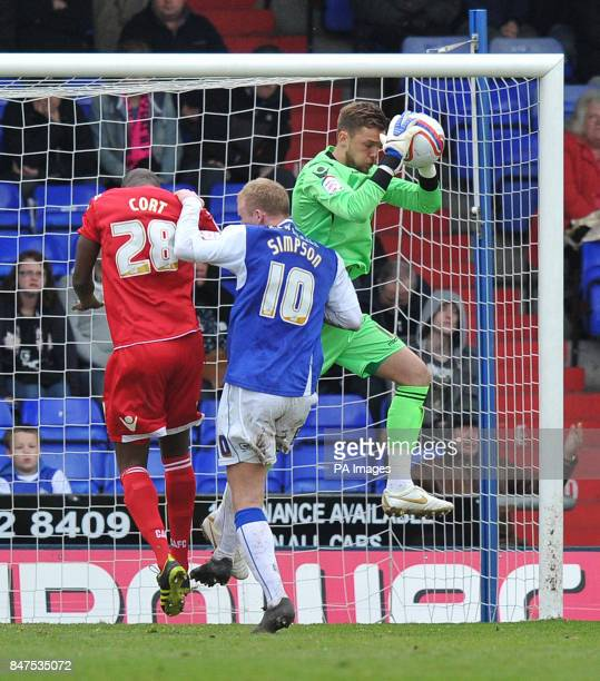 Charlton Athletic's Ben Hamer makes a save during the npower Football League One match at Boundary Park Oldham