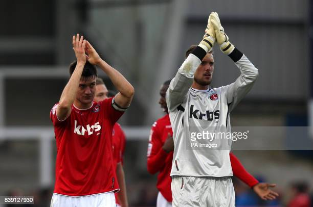 Charlton Athletic's captain Johnnie Jackson and goalkeeper Ben Hamer applaud the away fans at the end of the npower Football League One match at...