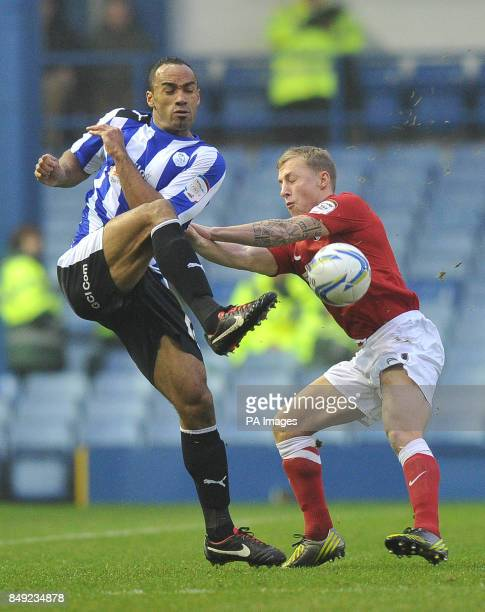 Charlton Athletic's Chris Solly amd Sheffield Wednesday's Arron Jameson battle for the ball during the npower Football League Championship match at...