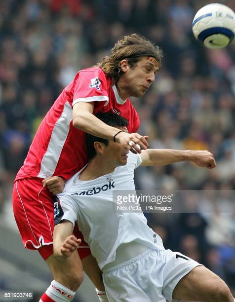 Charlton Athletic's Gonzalo Sorondo challenges Bolton Wanderers Jared Borgetti