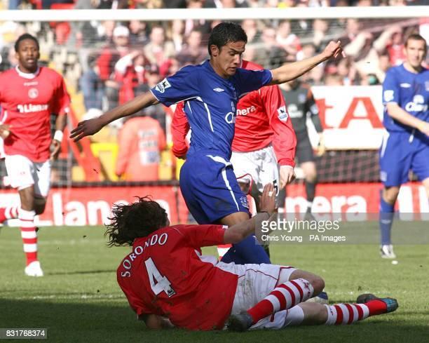 Charlton Athletic's Gonzalo Sorondo challenges Everton's Tim Cahill
