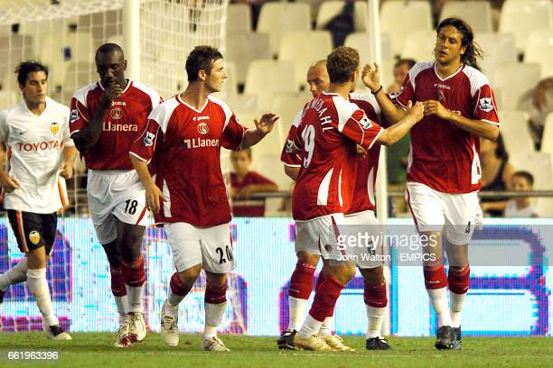 Charlton Athletic's Gonzalo Sorondo is congratulated on scoring