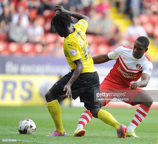 Charlton Athletic's Igor Vetokele tackles Watford's Juan Carlos Paredes
