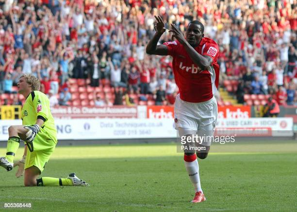 Charlton Athletic's Izale McLeod celebrates scoring the 2nd Charlton goal during the CocaCola League One match at The Valley Charlton