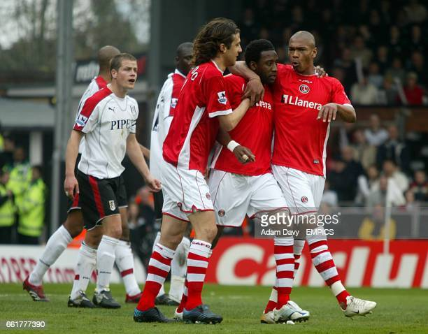 Charlton Athletic's Jason Euell celebrates his goal with Marcus Bent and Gonzalo Sorondo