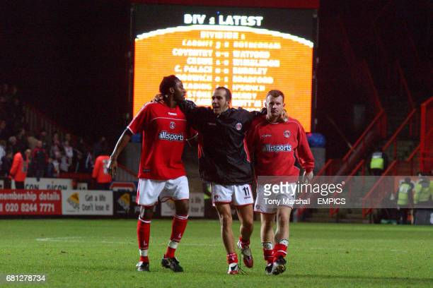Charlton Athletic's Jason Euell Paolo Di Canio and Graham Stuart in front of the new Jumbotron screen at the Valley