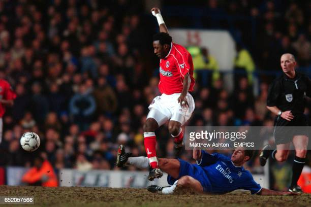Charlton Athletic's Jason Euell skips over Chelsea's Frank Lampard's tackle