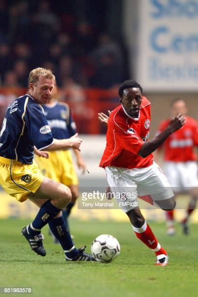 Charlton Athletic's Jason Euell takes on Oxford United's David Oldfield