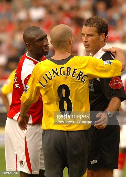Charlton Athletic's Jimmy Floyd Hasselbaink complains to referee Mark Clattenburg after the match