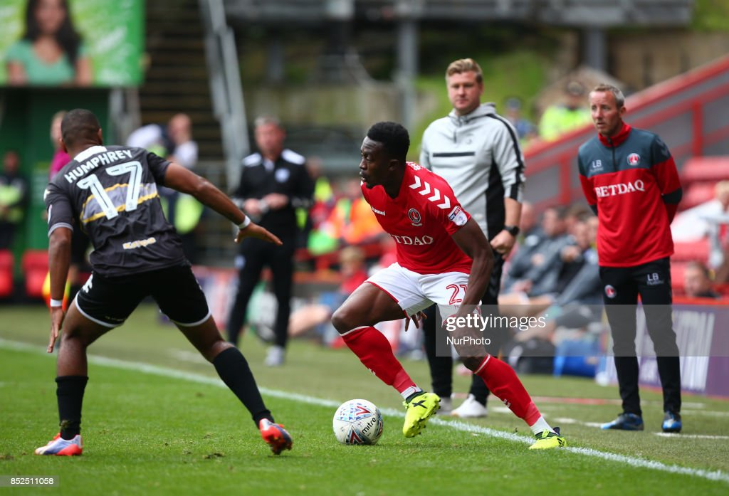 Charlton Athletic's Joe Dodoo during Sky Bet League One match between Charlton Athletic against Bury at The Valley Stadium London on 23 Sept 2017