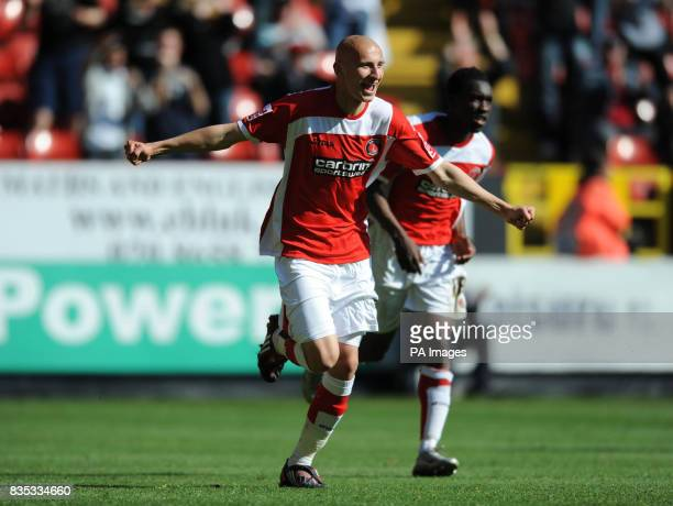 Charlton Athletic's Jonjo Shelvey celebrates scoring the second goal during the CocaCola Championship match at The Valley London