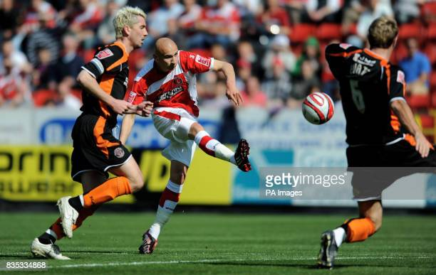 Charlton Athletic's Jonjo Shelvey has a shot on goal during the CocaCola Championship match at The Valley London