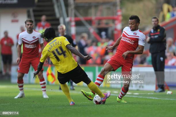 Charlton Athletic's Jordan Cousins and Watford's Juan Carlos Paredes battle for the ball