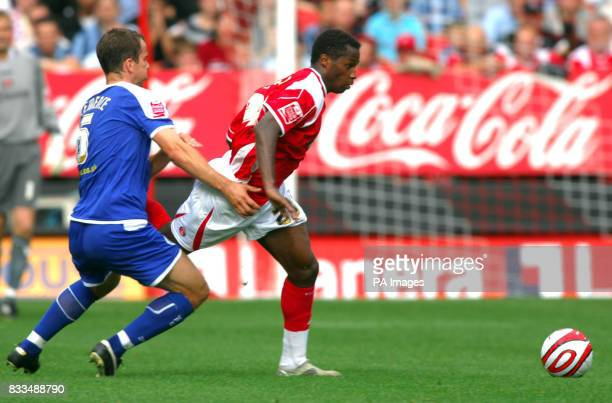 Charlton Athletic's Jose Semedo and Leicester City's Stephen Clemence battle for the ball during the CocaCola Football Championship match at The...