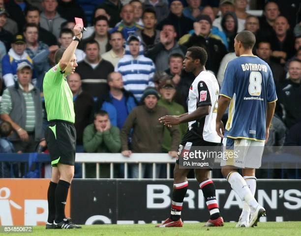 Charlton Athletic's Jose Semedo is sent off during the CocaCola Championship match at Ninian Park Cardiff