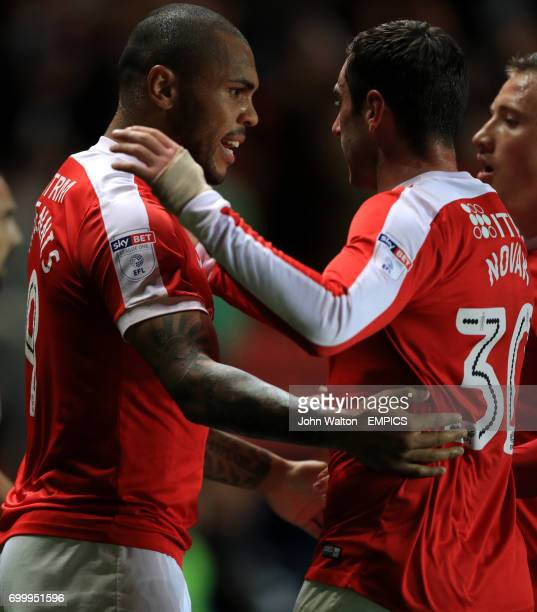 Charlton Athletic's Josh Magennis celebrates scoring his side's first goal of the game with teammate Lee Novak
