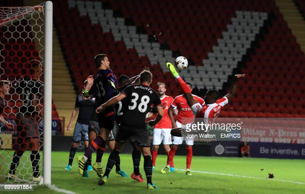 Charlton Athletic's Joshua Umerah attempts a spectacular volleyed attempt at goal