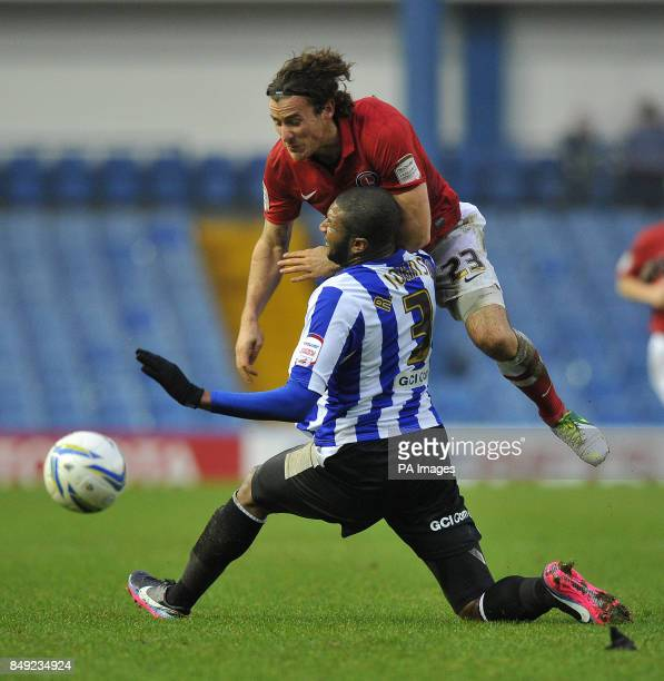 Charlton Athletic's Lawrie Wilson is fouled by Sheffield Wednesday's Reda Johnson during the npower Football League Championship match at...