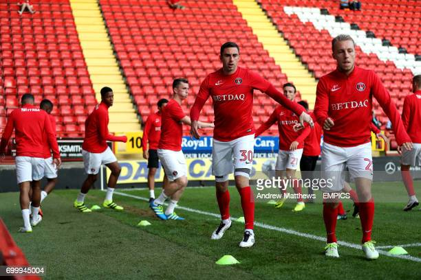 Charlton Athletic's Lee Novak and Chris Solly during warmup